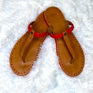 UGG Tan Red Braided Leather T-Strap Sandals Sz. 10